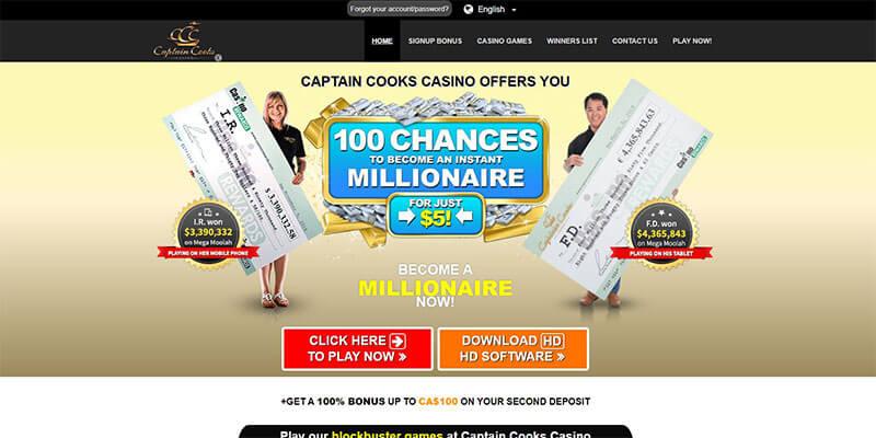 captain cooks casino homepage