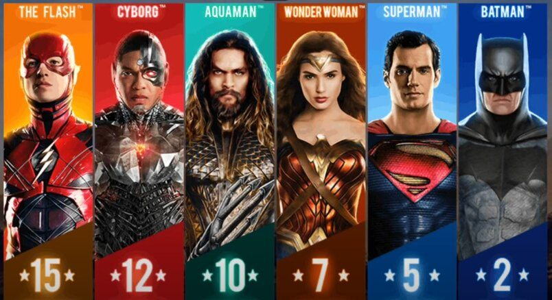 In-game screenshot of Justice League slot on mobile