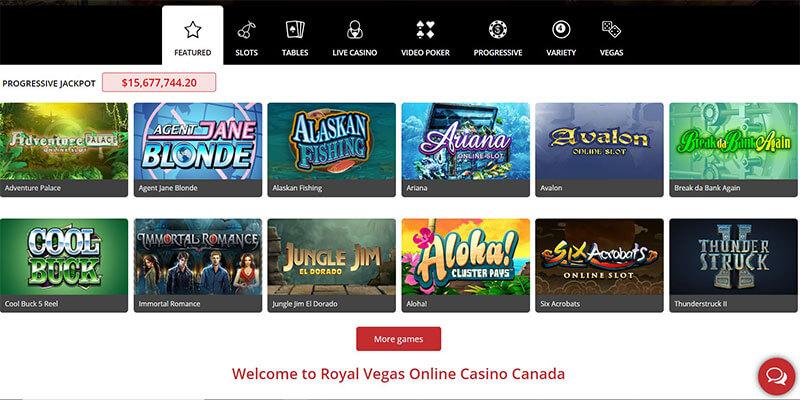 royal vegas games