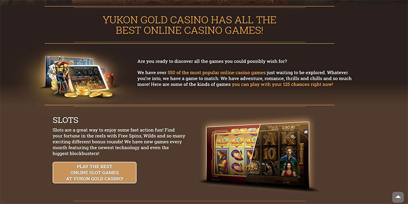yukon gold casino games