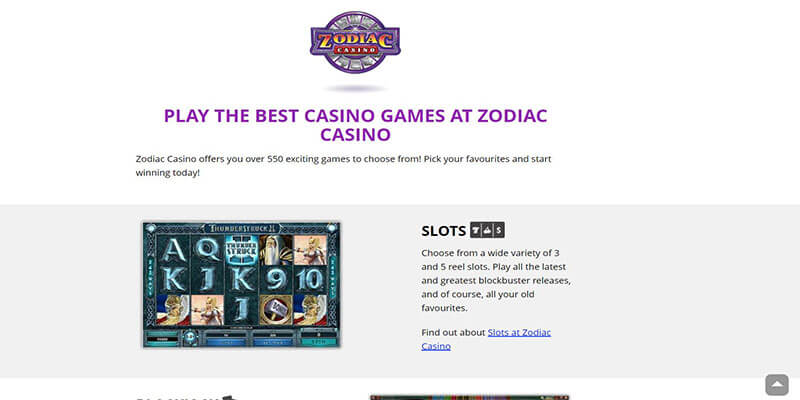 zodiac casino games